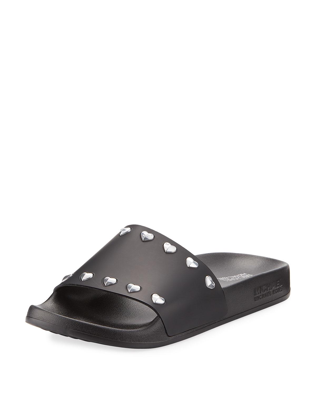 930e3fd19a5ad MICHAEL Michael Kors Zooey Heart-Stud Pool Slide Sandal