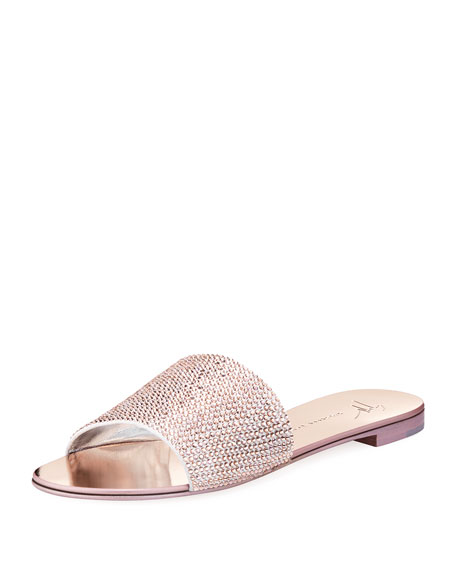 Adelia Crystal-Embellished Suede And Mirrored-Leather Slides, Rose