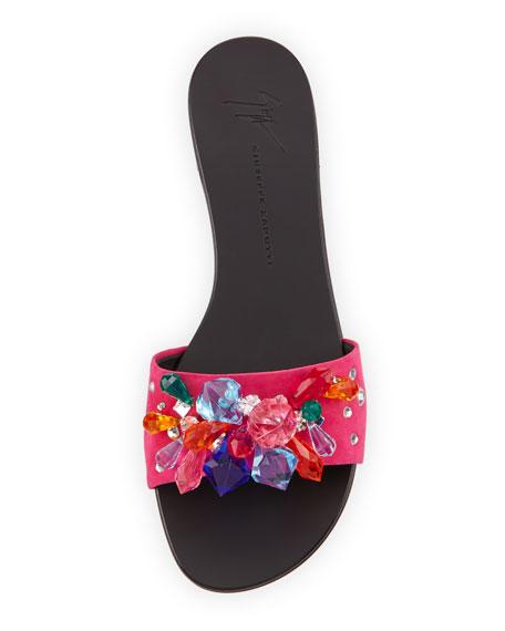 Flat Jeweled Satin Slide Sandal