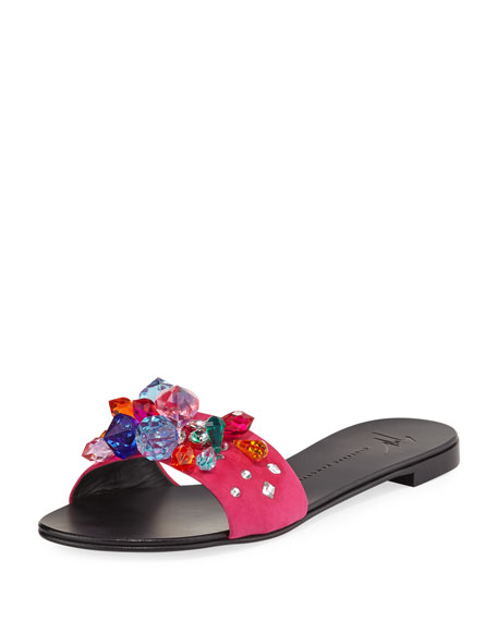 Flat Jeweled Satin Slide Sandal by Giuseppe Zanotti