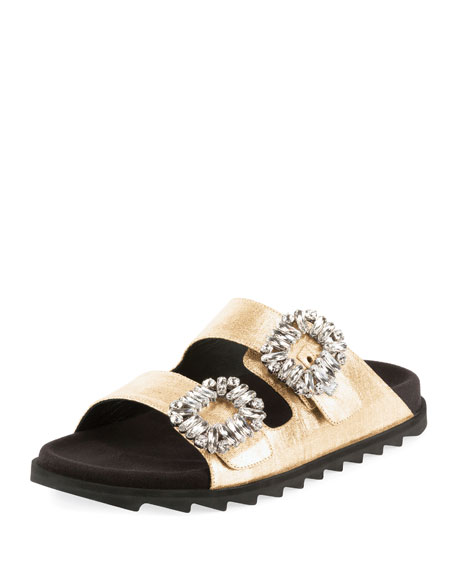 Roger Vivier Slidy Viv Strass-Buckle Metallic Two-Band Slide