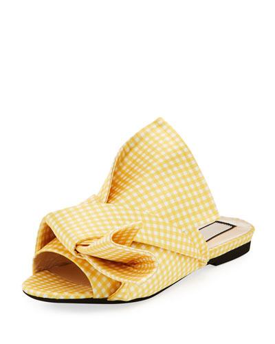 Flat Gingham Bow Slide Sandal