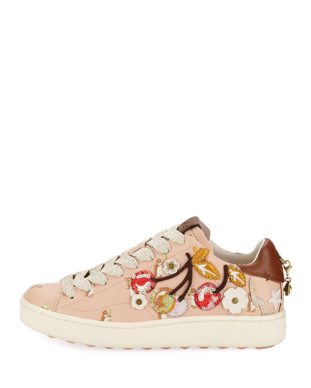 87d7d48b C101 Cherries Patches Platform Sneakers, Light Pink