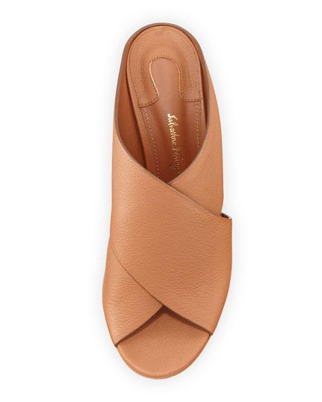 Lisa 70 Runway Leather Cross-Band Mule Sandal