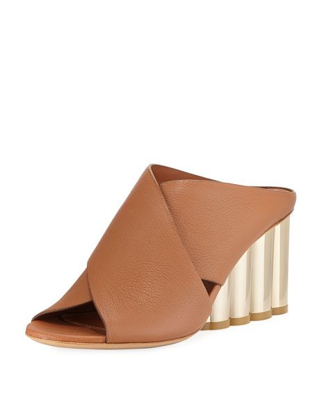 Runway Leather Cross-Band Mule Sandal