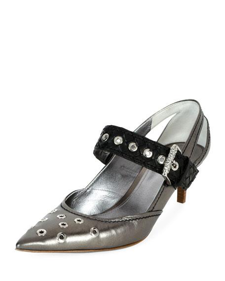 Point-Toe Eyelet-Embellished Leather Pumps in Black