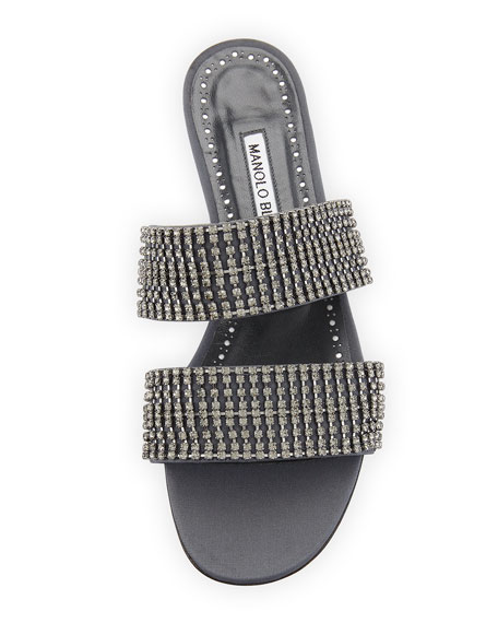 Bulgocri Satin/Crystal Flat Slide Sandal