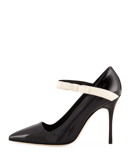 Immaculada Patent Mary Jane Pump, Black