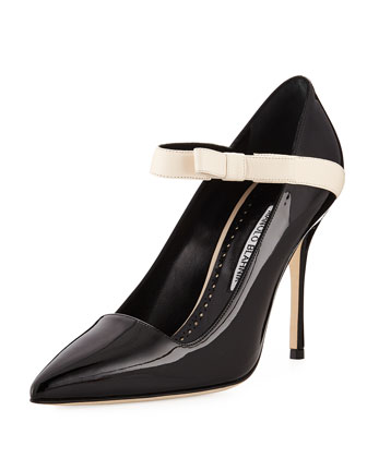 f611bc0f8d59db Manolo Blahnik Immaculada Patent Mary Jane Pumps, Black | Neiman Marcus