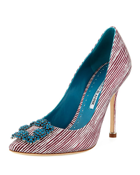 Manolo Blahnik Hangisi 105mm Striped Leather Pump
