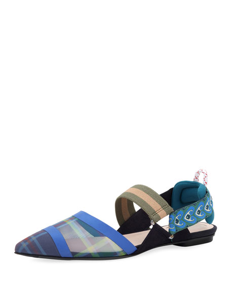 Fendi Runway Mixed-Media Skimmer, Blue