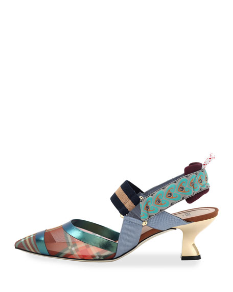 Colibri Mixed Media Slingback Kitten Heel Pumps