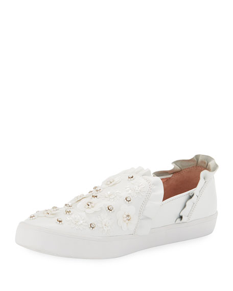 Flower Embellished Low Top Sneakers x4Idms Ol