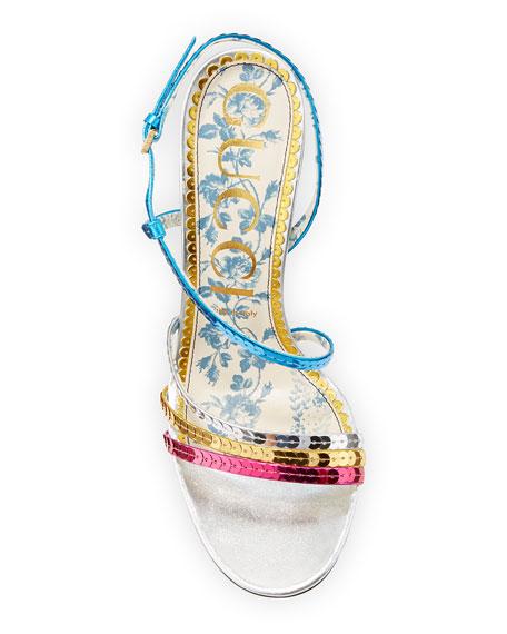 Colorblock Sequin Sandals