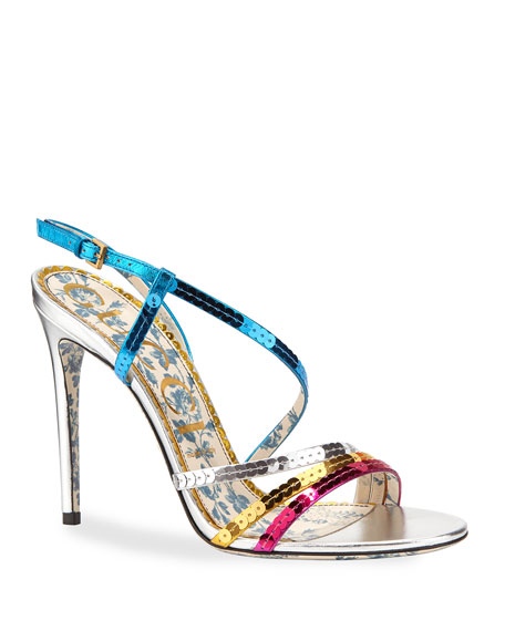 Gucci Colorblock Sequin Sandals