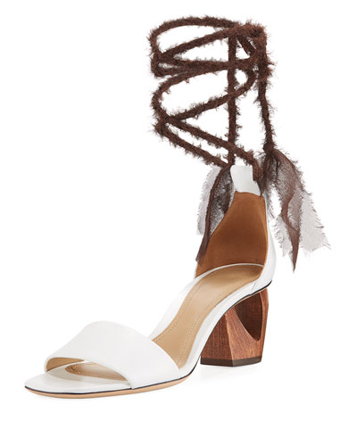 Hanna Ankle-Wrap Leather Sandal