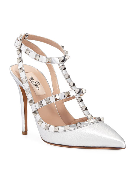 Rockstud Metallic Leather 100mm Pumps - Silvertone Hardware