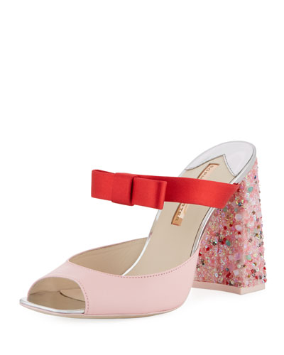 Andie Embellished Two-Tone Leather/Satin Mule Sandal