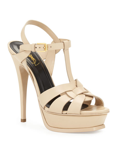 Saint Laurent Tribute Leather Platform Sandal