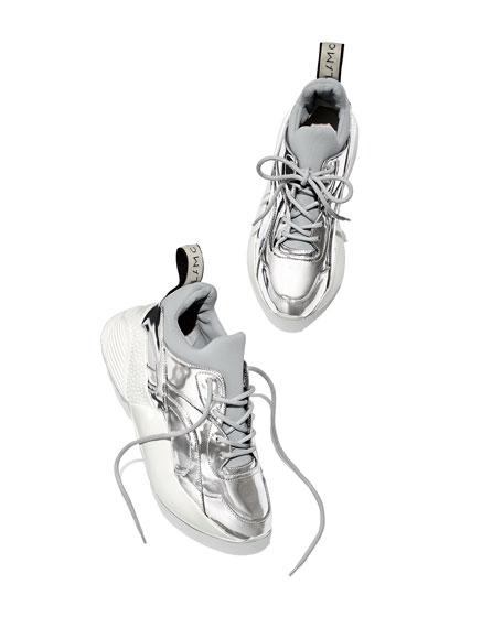 Runway Metallic Lace-Up Sneakers