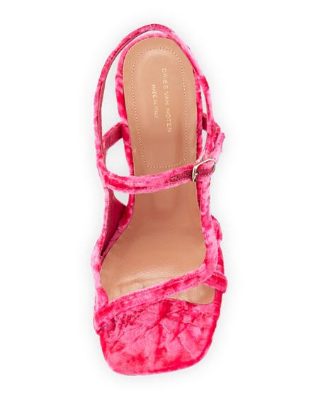 Crushed Velvet Chunky Sandal