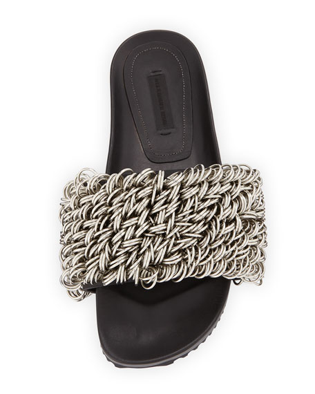 Suki Rings Slide Pool Sandals, Black