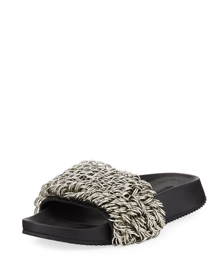 Alexander Wang Suki Rings Slide Pool Sandals, Black