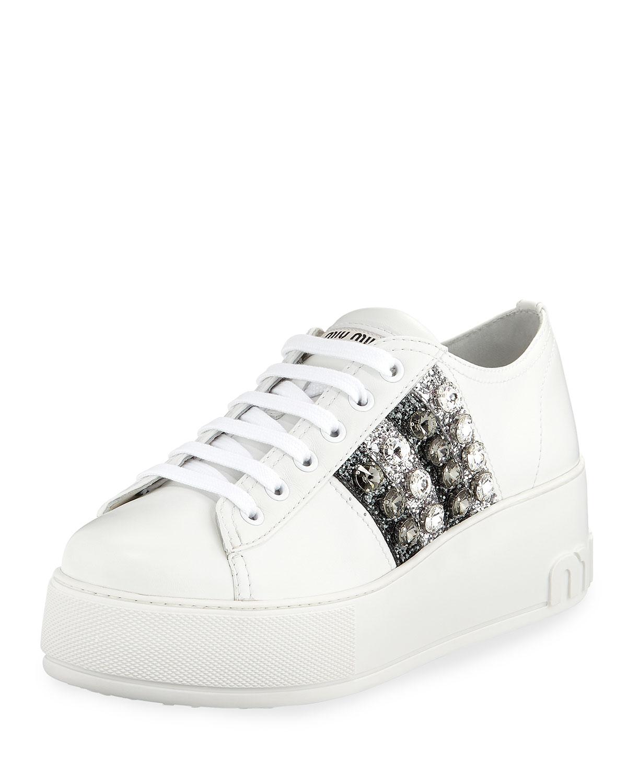 a59fb5b16b Miu Miu Leather Platform Sneakers with Jeweled Stripes