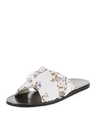 Keaton Floral-Print Flat Leather Slide Sandal