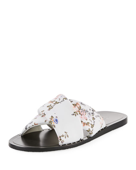 Rag & Bone Keaton Floral-Print Flat Leather Slide