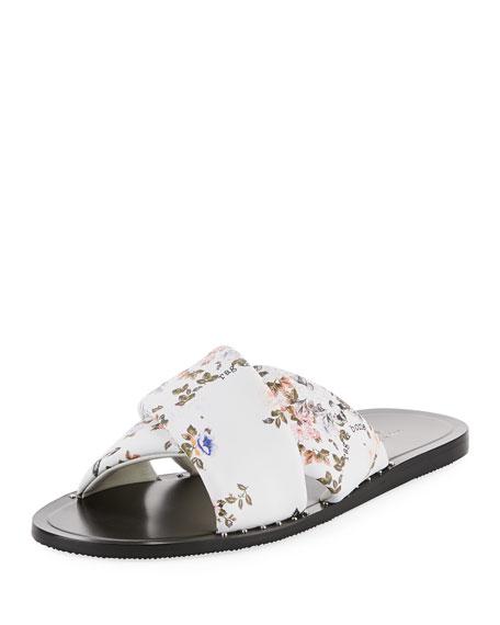 Keaton Floral-Print Flat Leather Slide Sandal