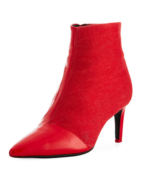 Beha Mixed Leather & Suede Zip-Up Boots, Red
