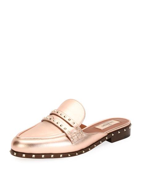 top fashion elegant shoes recognized brands Valentino Garavani Soul Rockstud Metallic Flat Mule Loafer ...