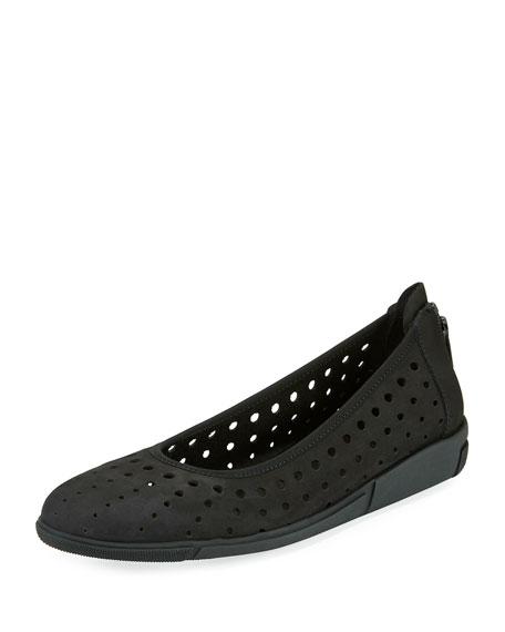Dova Perforated Slip-On Flat, Black