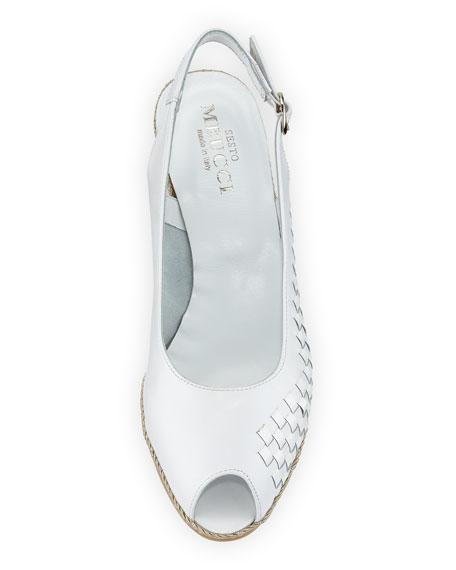 Sesto Meucci Manie Peep-Toe Slingback Pump, White