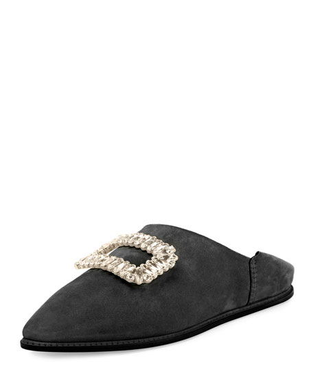 Viv Strass Buckle Suede Fold-Down Mules