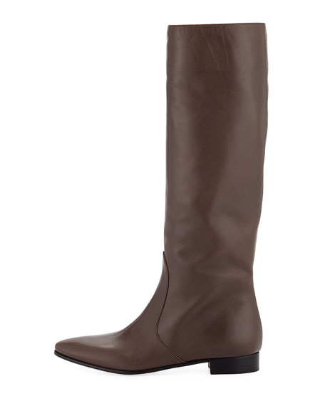 Leather Flat-Heel Knee Boot