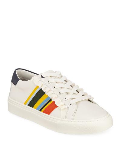 Ruffle Striped Low-Top Sneakers
