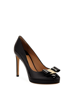 37e1a29960fa Salvatore Ferragamo Patent Platform Pumps with Vara Bow