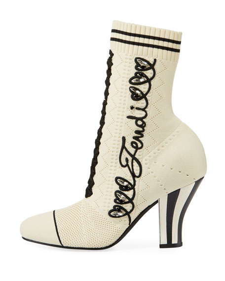 Fendi Embroidered Knit Booties