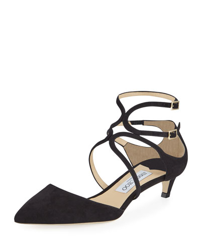 Lancer Suede Caged Kitten-Heel Pumps
