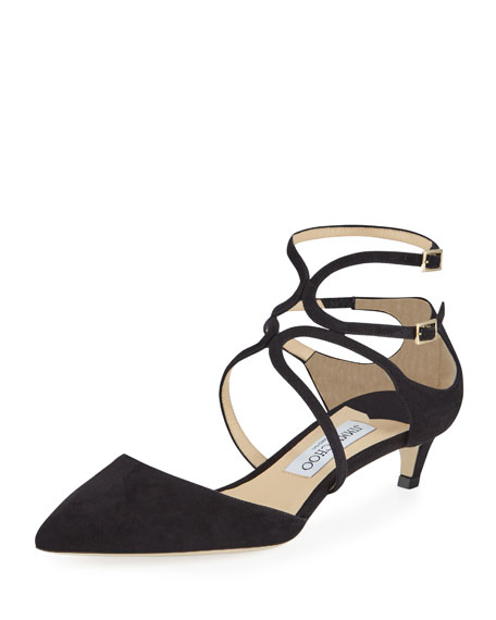 Jimmy Choo Lancer Suede Caged Kitten-Heel Pump