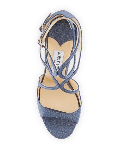 Lang 100mm Fine Glittered Leather Sandal