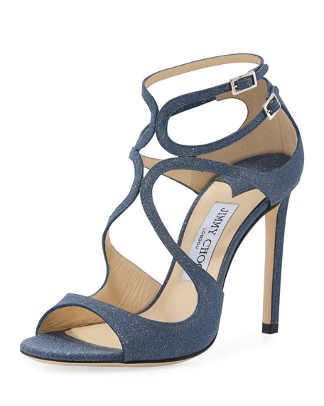 f811819ffd1c Jimmy Choo Women S Lang Glitter Leather Strappy High-Heel Sandals In Navy