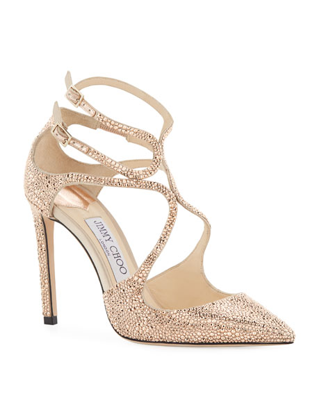 Jimmy Choo Lancer 100mm Crystal Satin Pump