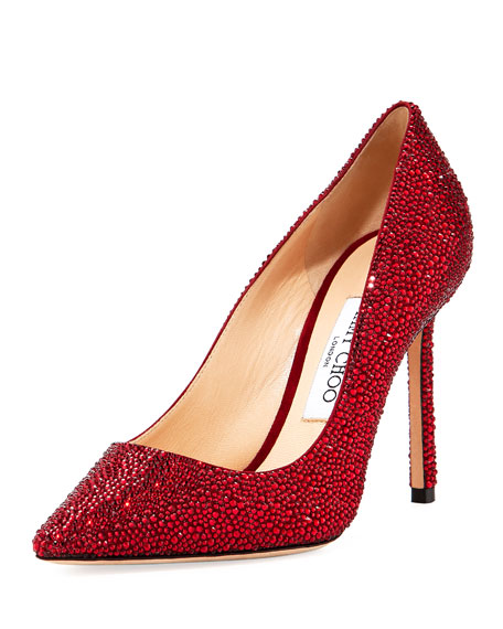 Romy 100mm Suede Pump with Crystals