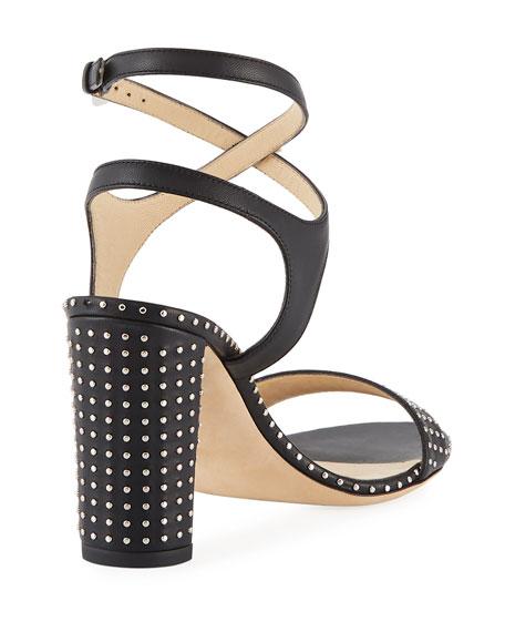 Marine Studded Leather Block-Heel Ankle-Strap Sandals