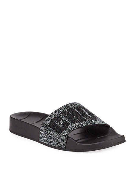 Jimmy Choo Rey Crystal Logo Pool Slide Sandal