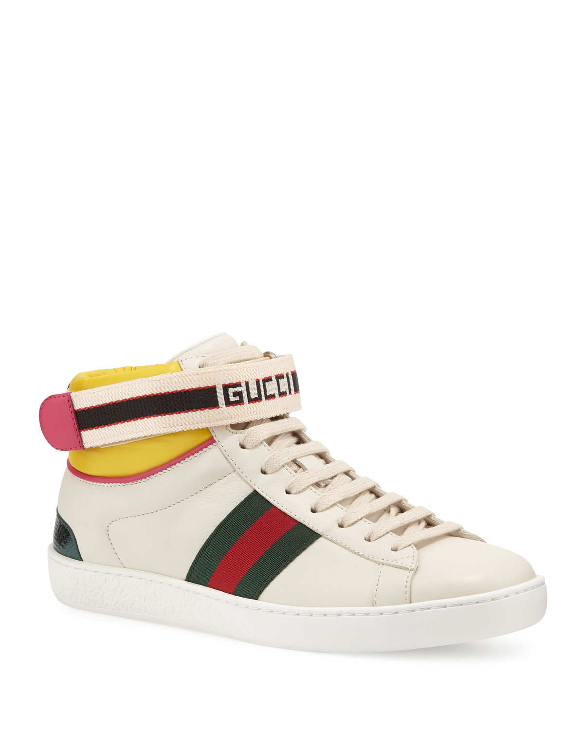 5d8a4a396185 Gucci New Ace High Leather Sneaker With Strap