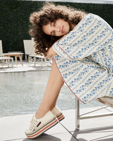 Gucci-Print Fabric Platform Espadrille
